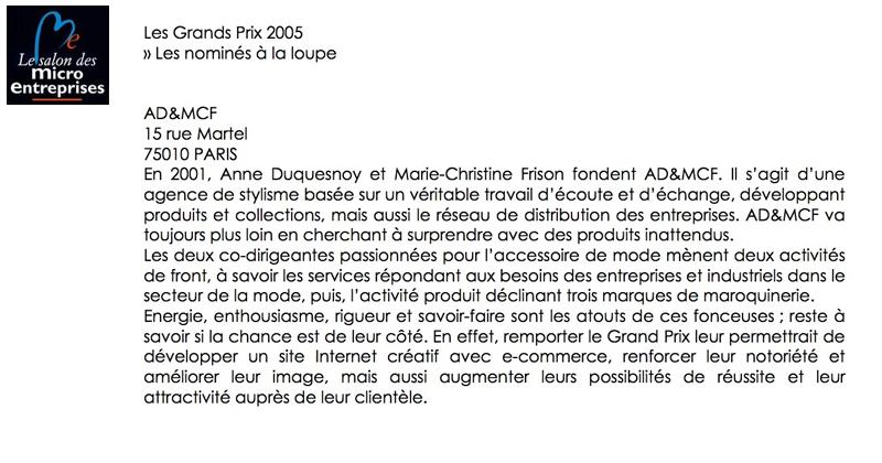 AD&MCF, nominée pour les grands prix 2005 - Le salon des micro entreprises pour la création et stylisme de sac et accessoires