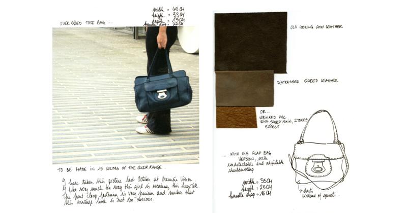 nine west projet cahier de tendances gamme couleurs formes matières stylisme sacs maroquinerie